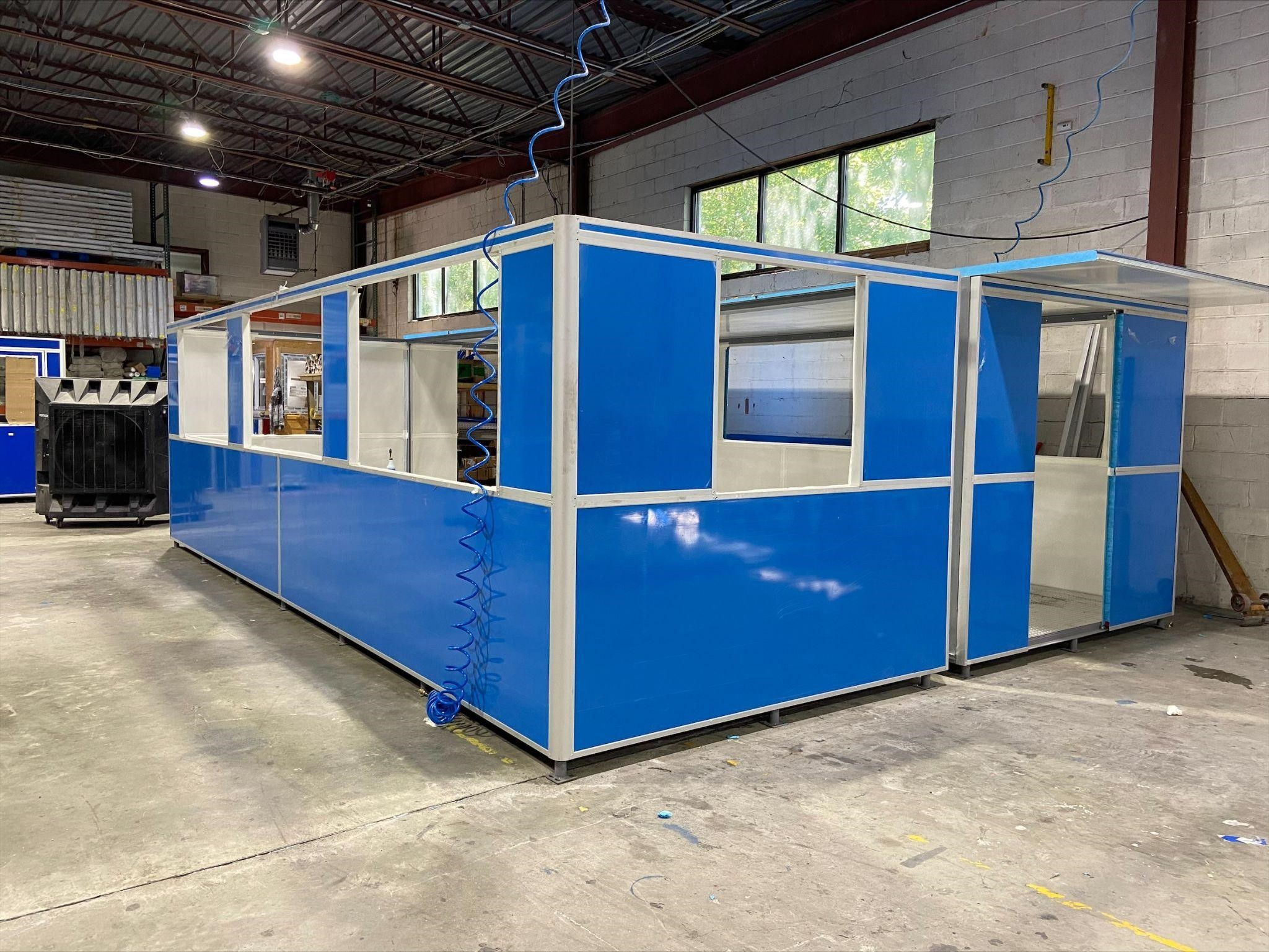 construction of oversized booth for customers at international airport car rental